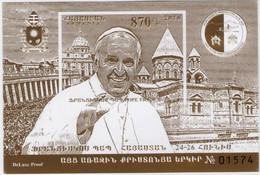Armenia 2016 Religion Pope Francis Visit To Armenia (JUNE 24-26 2016) Block Of Stamps - Armenia