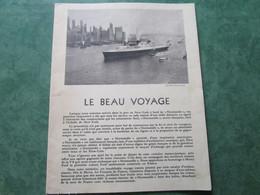"""LE BEAU VOYAGE - Arrivée Du """"NORMANDIE"""" à New-York Au Départ Du Havre - Accueil De L'Industriel FORD (12 Pages) - Boats"""