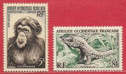 Afrique Occidentale Française N°51 5F & N°52 8F Singe Chimpanzé Pangolin 1955 * - Nuovi