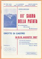 LIBRI 1693A - GROTTE DI CASTRO (VT) - III^ Sagra Della Patata, Agosto 1987 - Toursim & Travels