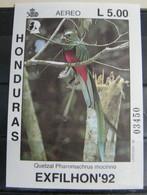 MZ70 -  HONDURAS 1992 FOGLIETTO SHEET L.5.00 - FLORA FAUNA  - UCCELLI BIRDS - MOSTRA FILATELICA EXFILHON92 - Honduras