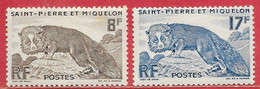 Saint-Pierre & Miquelon N°345 8F Brun, N°346 17F Bleu Renard Argenté 1952 * - Nuovi
