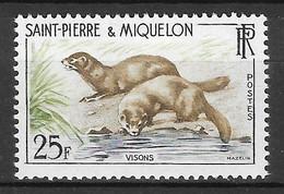 Saint-Pierre & Miquelon N°361 25F Vison 1959 ** - Nuovi