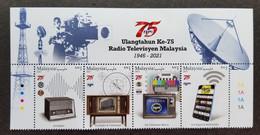 Malaysia RTM 75th Anniversary Radio Television 2021 Telecommunication Handphone Signal (stamp Title) MNH - Malaysia (1964-...)
