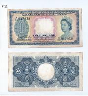 "Vintage !  1953 MALAYA AND BRITISH BORNEO , SINGAPORE $1 CURRENCY MONEY BANKNOTE ""A"" Prefix  (#11) - Singapore"