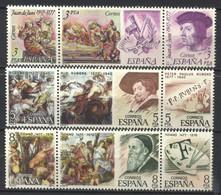 España, 1978, Centenarios, Juan De Juni, Pedro Paulo Rubens, Tiziano Vecellio, Serie Completa En Tiras De Tres, MNH** - 1971-80 Nuevos & Fijasellos
