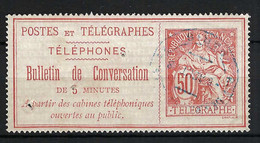 FRANCE Téléphones 1888:  Le Y&T 9 Obl., Trou D'épingle - Telegraaf-en Telefoonzegels