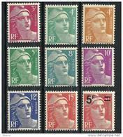 "FR YT 806 à 813 827 "" Série Marianne De Gandon "" 1949 Neuf** - 1945-54 Marianne Of Gandon"