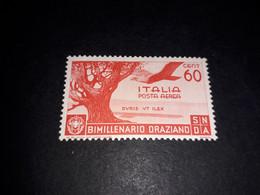 """A8MIX28 REGNO D'ITALIA 1936 BIMILLENARIO DELLA NASCITA DI ORAZIO POSTA AEREA 60 CENT. """"XX"""" - Mint/hinged"""