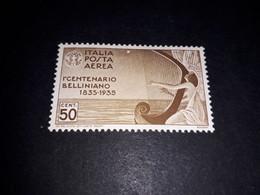 """A8MIX28 REGNO D'ITALIA 1935 CENTENARIO MORTE DI BELLINI POSTA AEREA 50 CENT. """"X"""" - Mint/hinged"""