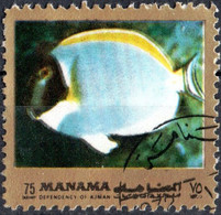 MANAMA, FAUNA, PESCI, FISH, 1973, 75 Dir., FRANCOBOLLO USATO Mi: AJ MN 931aA - Bahrain (1965-...)