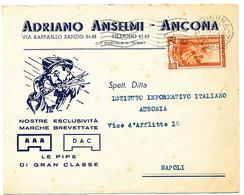 1952 ANCONA ADRIANO ANSELMI BUSTA PUBBLICITARIA LE PIPE DI GRAN CLASSE - 1946-60: Marcophilia