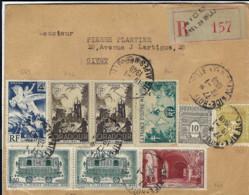 T.P. 609+620+623+661+741/2+669 S/L. Rec. De NICE - Hôtel De Ville Du 19-1-1948 à GIVET - Storia Postale