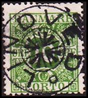 1928. Postage Due. Porto. 10 Øre Gren Starcancel LINDVED.  (Michel P13) - JF417827 - Postage Due