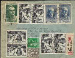 T.P. 551+670+730+815 S/L. Rec. De NICE - Hôtel De Ville Du 19-1-1949 à GIVET - Storia Postale