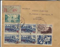 T.P. 490 (bloc De 4)+669+738+741 S/L. Rec. De NICE - Hôtel De Ville Du 19-5-1948 à GIVET - Storia Postale