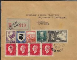 T.P. 631+545+693 (bande De 4)+736+742 S/L. Rec. De NICE - Hôtel De Ville Du 29-4-1948 à GIVET - Storia Postale