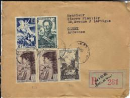 T.P. 662+669+738+742 S/L. Rec. De NICE - Hôtel De Ville Du 8-2-1948 à GIVET - Storia Postale