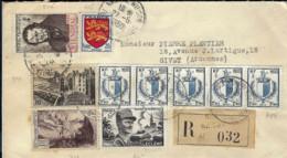 T.P. 550+605+738+747+815+734 (bande De 5) S/L. Rec. De NICE - Wilson Du 27-5-1950 à GIVET - Storia Postale