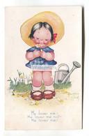 "Beatrice Mallet - He Loves Me, Girl, Garden - Old Raphael Tuck ""Cute Kiddies"" Postcard No. 3611 - Mallet, B."