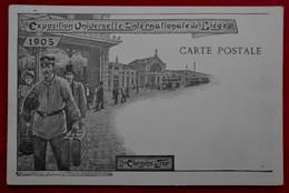 """CPA Exposition 1905 Liège - Les Chemins De Fer - Publicité """"Aux Caves Françaises"""" , Rue Féronstrée - Liege"""
