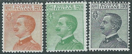 1925 REGNO EFFIGIE 3 VALORI MH * - RE11-9 - Mint/hinged