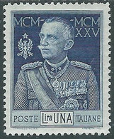 1925-26 REGNO GIUBILEO 1 LIRA D. 13 1/2 LUSSO MH * - RE7-2 - Mint/hinged