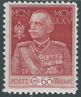 1925-26 REGNO GIUBILEO 60 CENT D. 11 MH * - RE7 - Mint/hinged