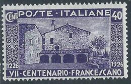 1926 REGNO S. FRANCESCO 40 CENT MH * - RE13-10 - Mint/hinged