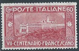 1926 REGNO S. FRANCESCO 60 CENT MH * - RE13-10 - Mint/hinged