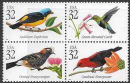 USA   1998   Sc#3225a   Tropical Birds Block Of 4   MNH - Unused Stamps