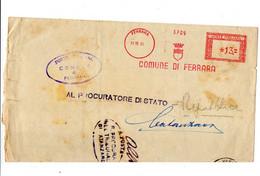 1951 EMA Affrancatura Meccanica Rossa Freistempel Ferrara Comune Di Ferrara Stemma - Poststempel - Freistempel