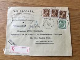 Belgique N°427 (x3) Sur Pli Rec à En-tête «au Progrès» à Jolimont (14/12/1937) - 1936-1957 Collar Abierto