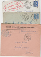 DORDOGNE: MENESPLET + St MARTIAL D'ARTENSET + St MAYME DE PEREYROL, Perlés / 3 LSC Années 50 - 1921-1960: Periodo Moderno