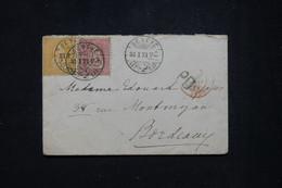 SUISSE - Enveloppe De Genève Pour Bordeaux En 1871, Affranchissement Déesse Assise 10c +20c  - L 94995 - Covers & Documents