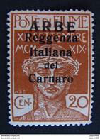 """ITALIA Occupazioni ARBE -1920- """"Reggenza Carnaro"""" C. 20 MH* (descrizione) - Arbe & Veglia"""