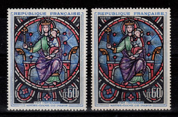 Variete - YV 1419 N** : Couleurs Plus Claires , Jambe De Jesus Verte Au Lieu De Rouge , Decalages De Couleurs + Normal - Varieties: 1960-69 Mint/hinged
