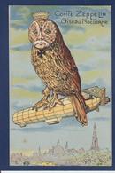 CPA Aviation Zeppelin écrite Satirique Caricature Dirigeable Kaiser Chouette Tour Eiffel - Aeronaves