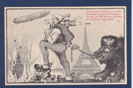 CPA Aviation Zeppelin Non Circulé Satirique Caricature Dirigeable Kaiser Ours Russie Japon Tour Eiffel - Airships