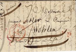 1839- Lettre De LIEGE  Pour Wohlen ( Suisse )   FRANCO / GRENZE Dans Un Ovale Rouge - 1830-1849 (Independent Belgium)