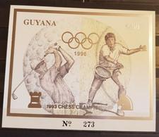 GUYANA   ATLANTA 1996 CHESS BLOCK SILVER OVERPRINT IMPERFORED MNH. - Chess