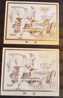 GUYANA WINTER OLYMPICS LILLEHAMMER '94 / 2 BLOCKS GOLD &SILVER OVERPRINT IMPERFORED MNH. - Invierno 1994: Lillehammer