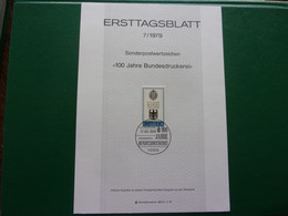 Allemagne Berlin Centenaire De L'imprimerie D'état Ersttagsblatt 100 Jahre Bundesdruckerei Druckerpresse Printing Press - Factories & Industries