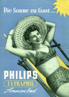 """Hamburg 1955 4-s Deko Werbefaltblatt """" PHILIPS Ultraphil Höhensonnen."""" Reklame Werbung A5 - Publicités"""