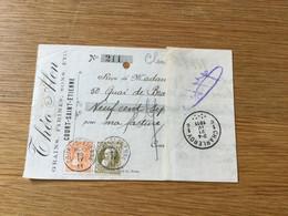 Belgique N°75 Et 79 Sur Reçu (Court St Étienne 20/04/1911) - Otros