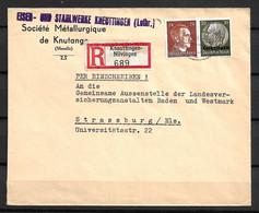 Alsace-Lorraine Belle Lettre Recommandée Entière De 1941 Affranchissement Mixte Avec Timbre Allemand. TB. A Saisir! - Alsace-Lorraine