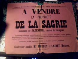 Affiche Notariale De 1889 Avec Fiscal A.V. Propriété De La Sagerie à Jazeneuil Etude Me Maudet & Laidet - Posters