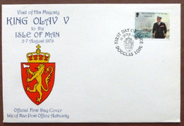 1980 Isle Of Man Stamp First Day Cover-Visit Of King Olav V No A-447 - Isle Of Man