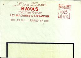 Lettre EMA Havas 1960 Il Y A 36 Ans HAVAS Machines à Affranchir  75 Paris C39/23 - Post