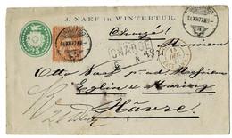 """1877, 20 A.GA 25, Vorderseittiger Firmen Zudruck """" Winterthur """", A4541 - Covers & Documents"""